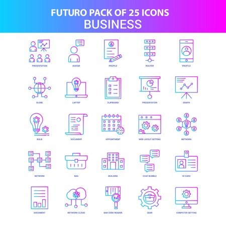 25 Blue and Pink Futuro Business  Icon Pack Banque d'images - 111708062