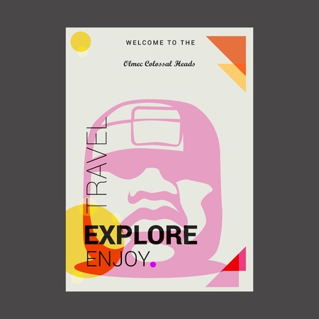 Welcome to The Olmec Colossal Heads, Guatemala Explore, Travel Enjoy Poster Template Illustration