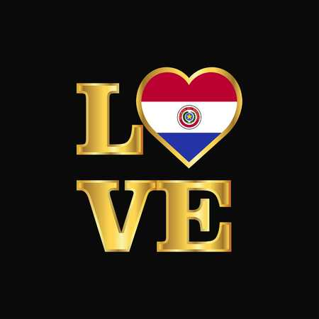 Love typography Paraguay flag design vector Gold lettering