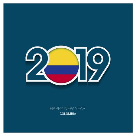 2019 Colombia Typography, Happy New Year Background  イラスト・ベクター素材