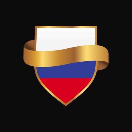 Russia flag Golden badge design vector
