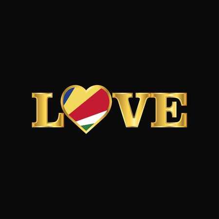 Golden Love typography Seychelles flag design vector