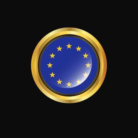 European Union flag Golden button 일러스트