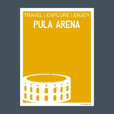 Pula Arena Pula, Croatia monument landmark brochure Flat style and typography vector