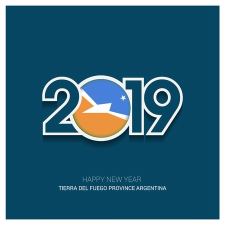 2019 Tierra del Fuego province Argentina Typography, Happy New Year Background