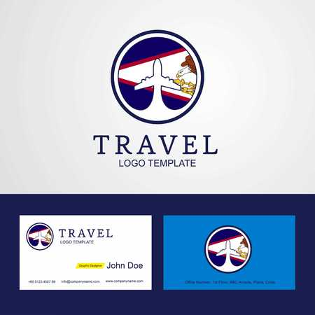 Travel American Samoa Creative Circle flag Logo and Business card design