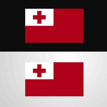 Tonga Flag banner design 일러스트