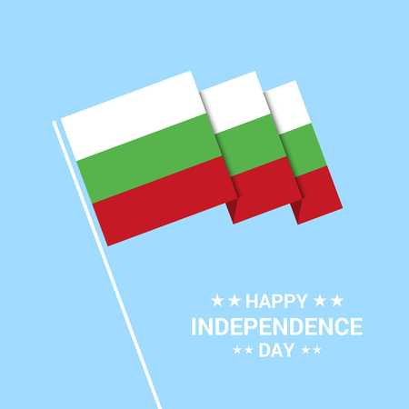 Bulgaria Independence day typographic design with flag vector