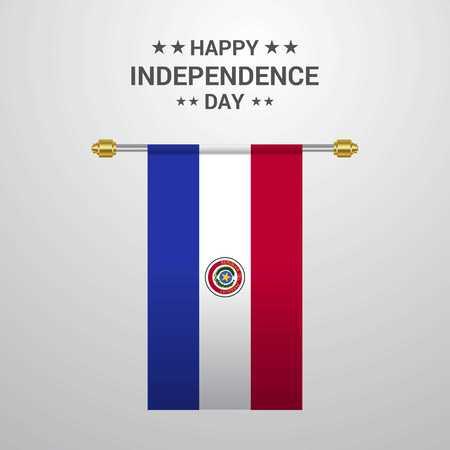 Paraguay Independence day hanging flag background Illustration