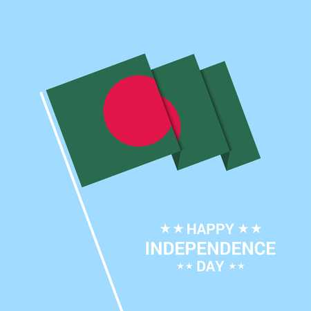 Bangladesh Independence day typographic design with flag vector