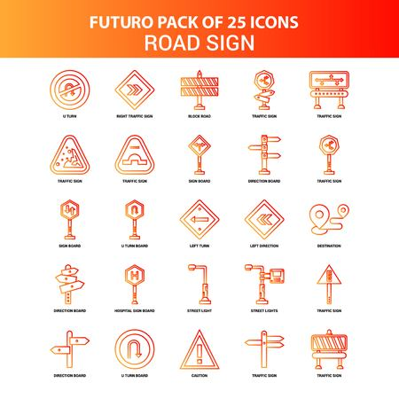 Orange Futuro 25 Road Sign Icon Set Illustration