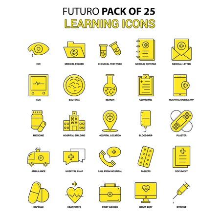 Learning icons Icon Set. Yellow Futuro Latest Design icon Pack Illustration