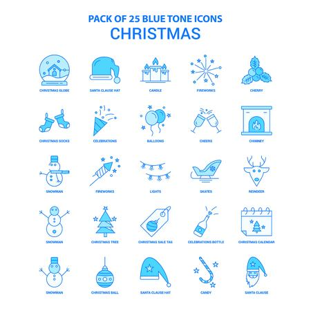 Christmas Blue Tone Icon Pack - 25 Icon Sets Stock Illustratie