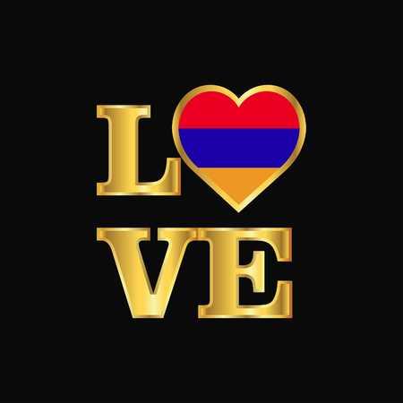 Love typography Armenia flag design vector Gold lettering Stock Vector - 118296896