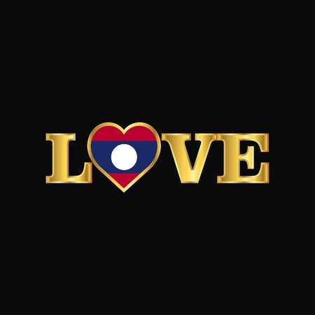Golden Love typography Laos flag design vector