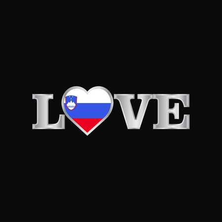 Love typography with Slovenia flag design vector