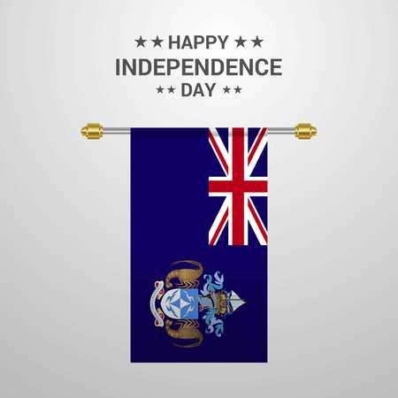 Tristan da Cunha Independence day hanging flag background Illustration