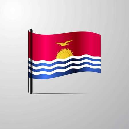 Kiribati waving Shiny Flag design vector