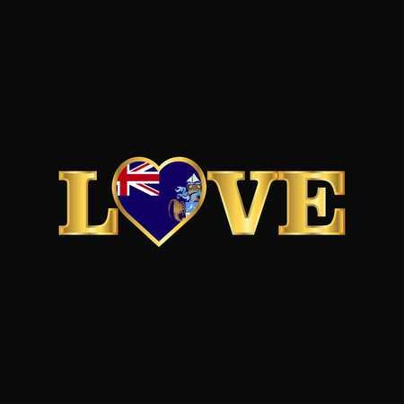 Golden Love typography Tristan da Cunha flag design vector