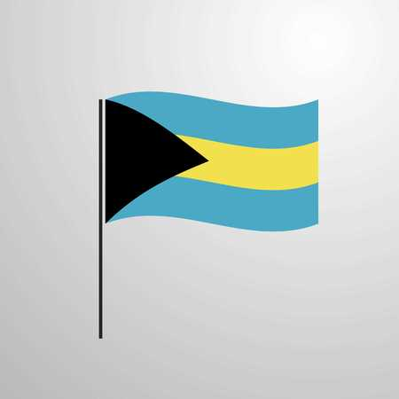 Bahamas waving Flag Illustration