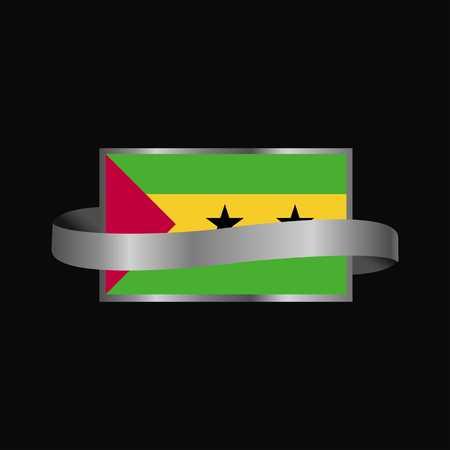 Sao Tome and Principe flag Ribbon banner design Ilustração Vetorial