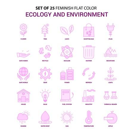 Set of 25 Feminish Ecology and Enviroment Flat Color Pink Icon set