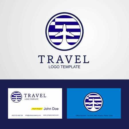 Travel Greece Creative Circle flag Logo and Business card design