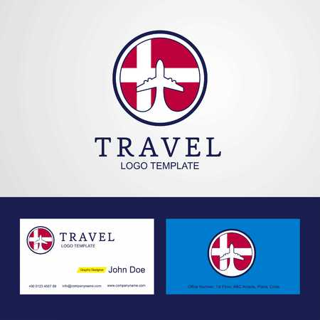 Travel Denmark Creative Circle flag Logo and Business card design