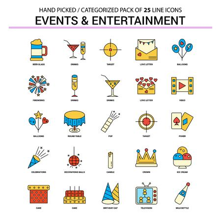 Events and Entertainment Flat Line Icon Set - Business Concept Icons Design Illustration