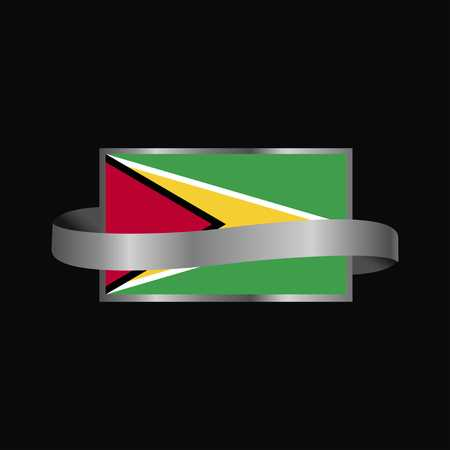 Guyana flag Ribbon banner design