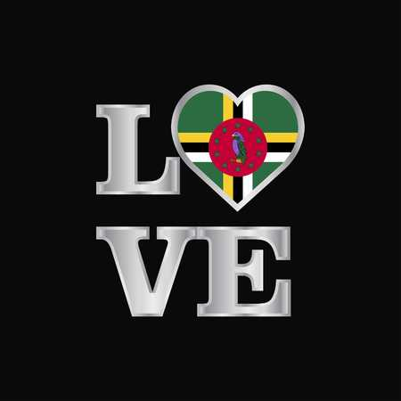 Love typography Dominica flag design vector beautiful lettering