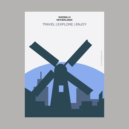 Windmills, Netherlands Vintage Style Landmark Poster Template