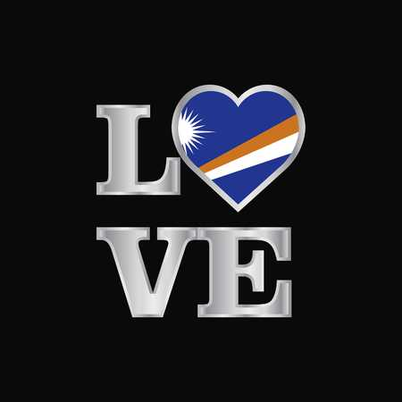 Love typography Marshall Islands flag design vector beautiful lettering