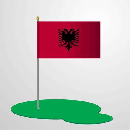 Albania Flag Pole Vektorové ilustrace