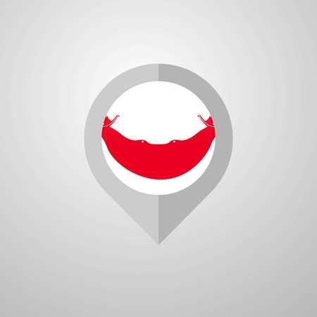 Map Navigation pointer with Ecuador flag design vector Illustration