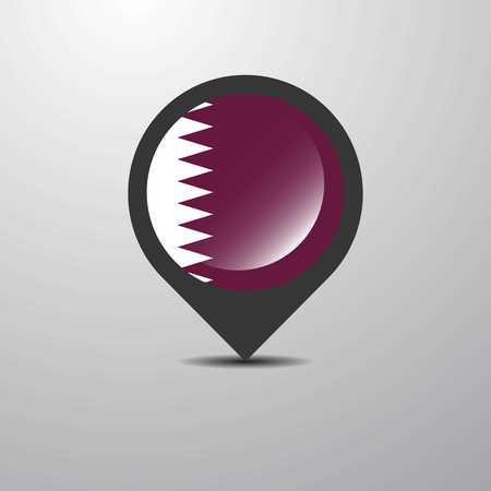 Qatar Map Pin Illustration