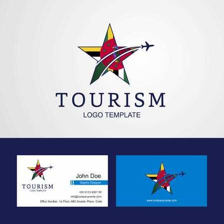 Travel Dominica flag Creative Star Logo and Business card design Logo