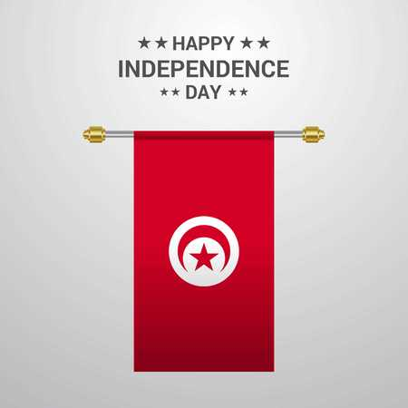 Tunisia Independence day hanging flag background