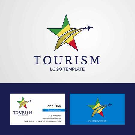 Travel Republic of the Congo flag Creative Star Logo and Business card design