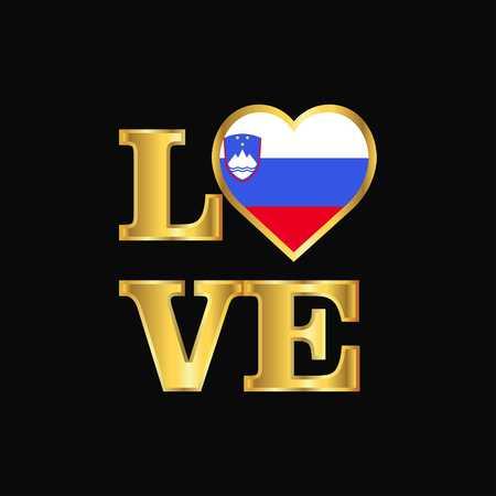 Love typography Slovenia flag design vector Gold lettering