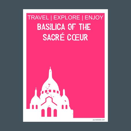 Basilica of the Sacre Coeur Paris, France monument landmark brochure Flat style and typography vector Illustration