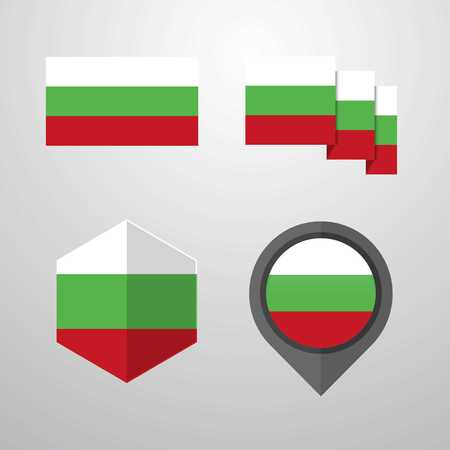 Bulgaria flag design set vector