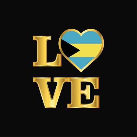 Love typography Bahamas flag design vector Gold lettering