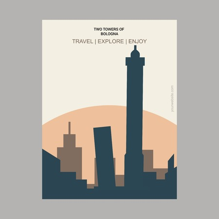 Two Towers of Bologna , Italy. Vintage Style Landmark Poster Template  イラスト・ベクター素材