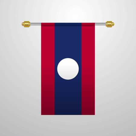 Laos hanging Flag 向量圖像