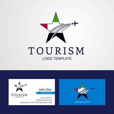 Travel UAE flag Creative Star Logo and Business card design Logo