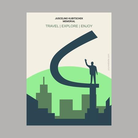 Juscelino Kubitschek Memorial Eixo Monumental, Brasília Vintage Style Landmark Poster Template