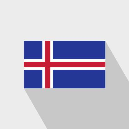 Iceland flag Long Shadow design vector