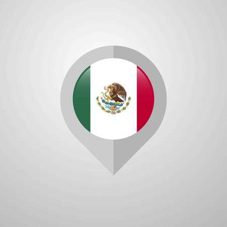 Map Navigation pointer with Mexico flag design vector