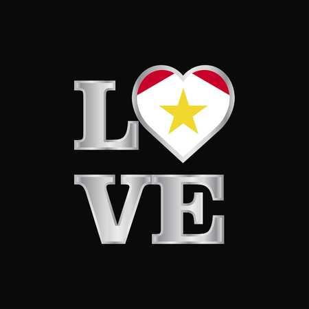 Love typography saba flag design vector beautiful lettering